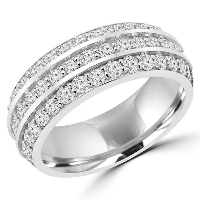 Majesty Diamonds MD170435-6.25 1.10 CTW Round Diamond Semi-Eternity Wedding Band Ring in 14K White Gold - Size 6.25 - image 1 de 1
