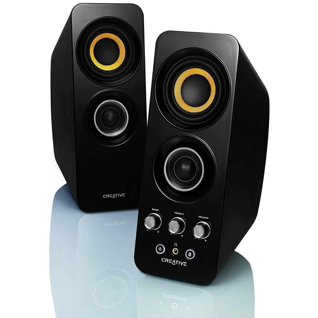 Refurbished Creative Labs T30 2 Piece Wireless Bluetooth Speaker w NFC & Aux Jacks Black by Creative Labs
