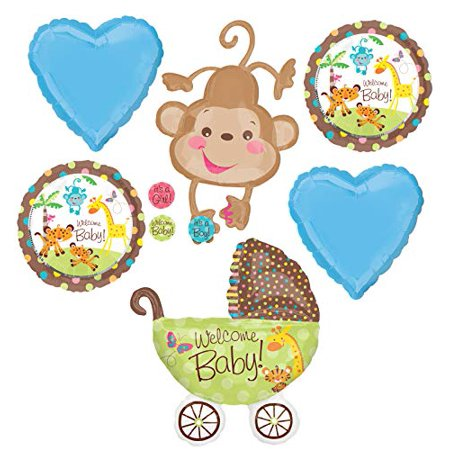 Jungle Safari Welcome Baby Boy Shower Party Supplies Buggy and Monkey Balloon Bouquet Decorations](Safari Balloons)