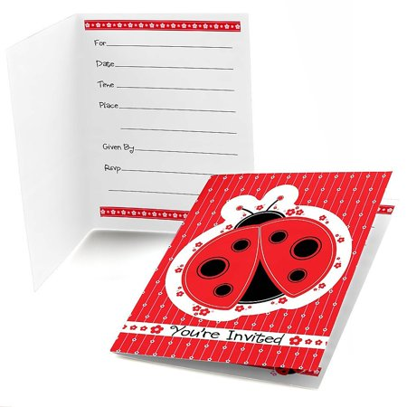 Modern Ladybug - Fill In Baby Shower or Birthday Party Invitations (8 count) - Party City Ladybug
