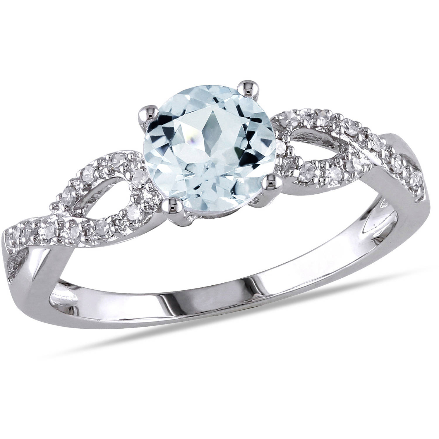 Tangelo 3 4 Carat T.G.W. Aquamarine and Diamond-Accent 10kt Gold Infinity Engagement Ring by Delmar Manufacturing LLC