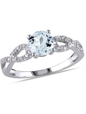 3/4 Carat T.G.W. Aquamarine and Diamond-Accent 10kt Gold Infinity Engagement Ring