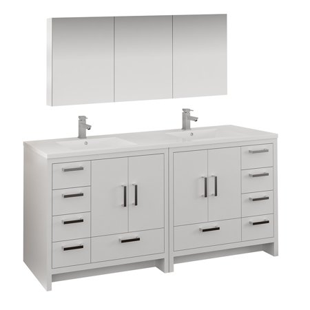72 glossy white free standing double sink bathroom vanity - Freestanding double bathroom vanity ...