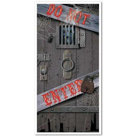 Halloween Dungeon Music (Club Pack of 12 'Do Not Enter' Dungeon Halloween Door Cover Decoration)