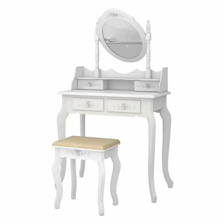 Vanity Table Oval Mirror, Makeup Vanity Set Cushioned Stool Wood Dressing Table with 4 Drawers for Girls Women, White
