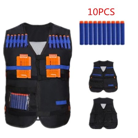 Tactic Combat Nylon Vest + 10pcs EVA Bullet Darts + 2pcs Plastic Bullet Holder Toy (Black