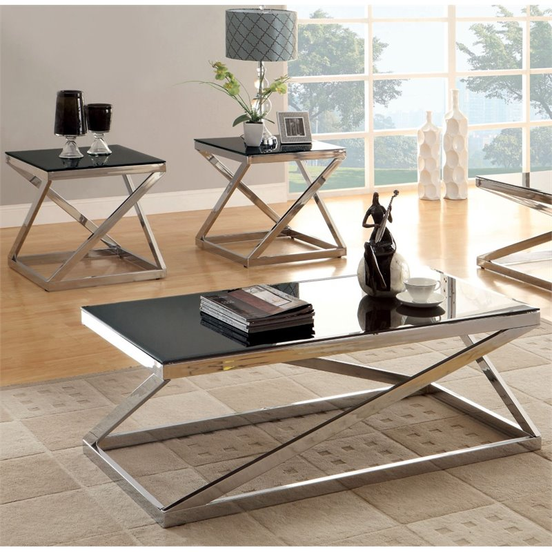 Furniture of America Tristen 2 Piece Coffee Table Set in Chrome