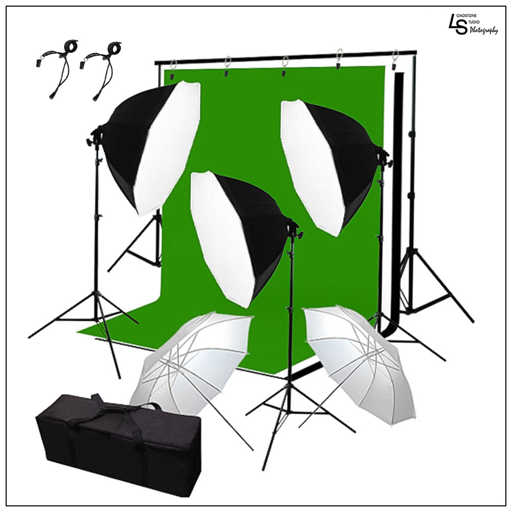 Octagon Softbox Continuous Lighting Kit with White Umbrellas and Backdrop Support Stand Kit with Muslins by Loadstone Studio WMLS0990