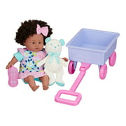 "My Sweet Love 13"" Baby Doll and Wagon Play Set, Pink & Teal, 6 Pieces, African American"