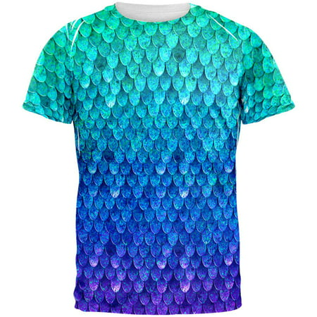 Halloween Mermaid Scales Costume All Over Mens T Shirt - Mens Bear Halloween Costume