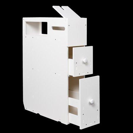 UBesGoo New White Floor Bath Cabinet Medicine Shelf Toilet Paper Storage Bathroom Drawer ()