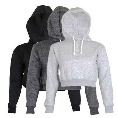 Womens Plain & Hangover Crop Top Hooded full length Sleeves Hoodie Sweatshirt