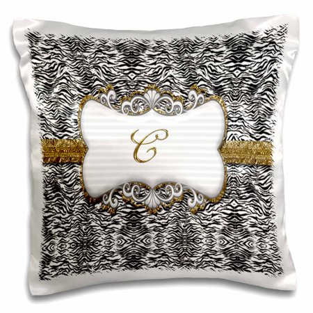 3dRose Elegant Back and White Animal Print with Gold Frame Monogram Letter C, Pillow Case, 16 by 16-inch Painted Gold Monogram