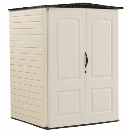 - Rubbermaid 5 x 4 ft Medium Storage Shed, Sandstone & Onyx