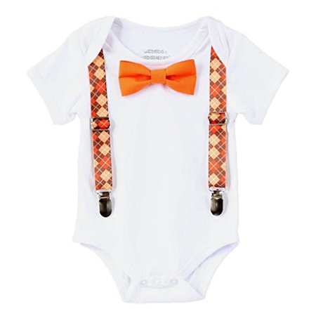 Noah's Boytique Baby Boys Thanksgiving Fall Pumpkin Patch Picture Outfit Argyle Suspenders and Orange Bow Tie -