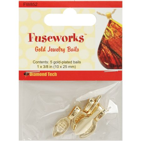Fused Glass Dangle (Large Gold Jewelry Bails, 5-Pack, Create handcrafted pendants from fused glass By Fuseworks From USA )