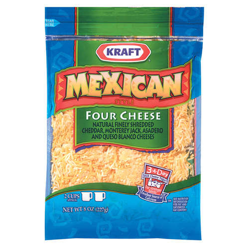 Kraft Natural Cheese Mexican Style Four Cheese Finely Shredded Shredded Cheese, 8 oz