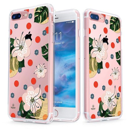 Razr V3 Phone Covers (iPhone 8 Plus Case - True Color Clear-Shield Hibiscus & Leaves [V3] [Flower Power] Printed on Clear Back - Perfect Soft and Hard Thin Shock Absorbing Dustproof Full Protection Bumper Cover)