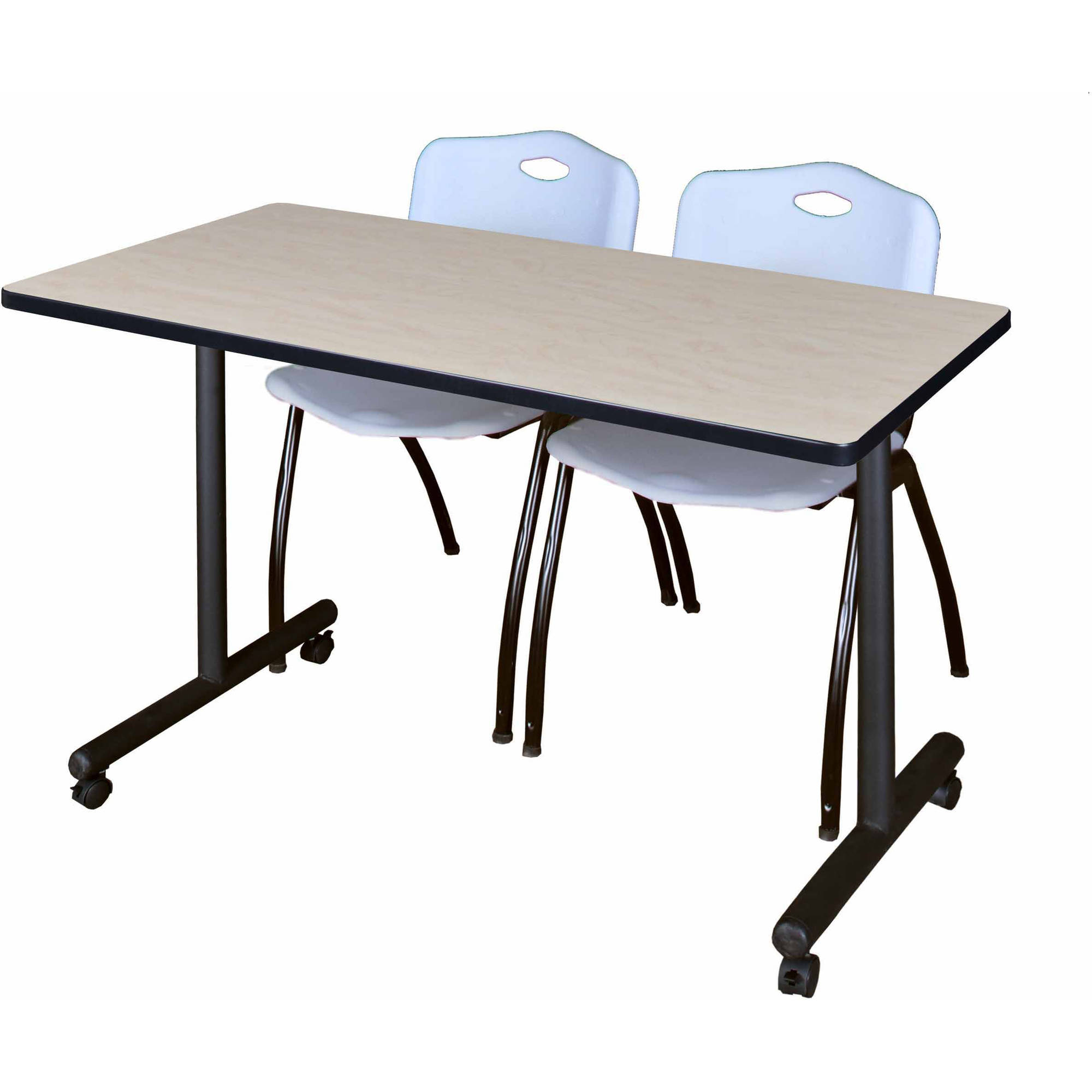 "Kobe 42"" x 24"" Maple Mobile Training Table and 2 'M' Stack Chairs, Multiple Colors"