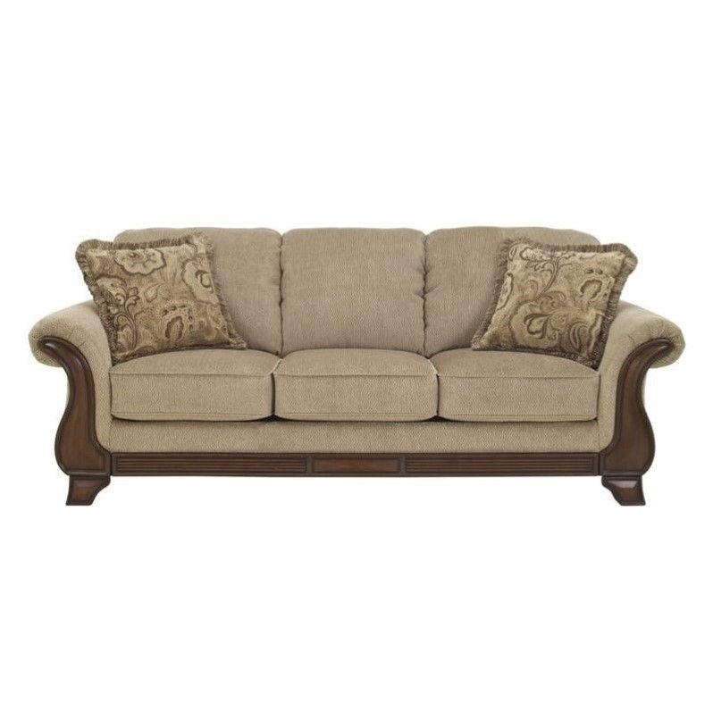 Ashley Lanett Fabric Queen Size Sleeper Sofa in Barley Walmart