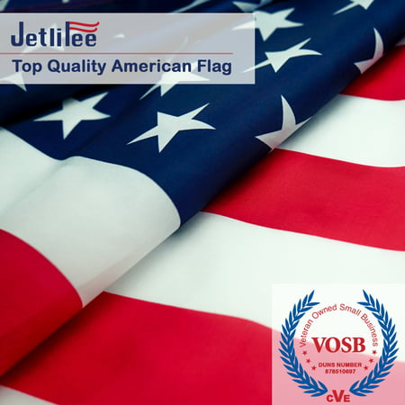 Flag 3x5 Free Ship (Jetlifee Breeze 3x5 Ft American Flag by US Veterans Owned Biz. Printed Stars and Stripes 68D Polyester US Flag Office Flags with 2 Brass Grommets Canvas Header and Double Stitched)