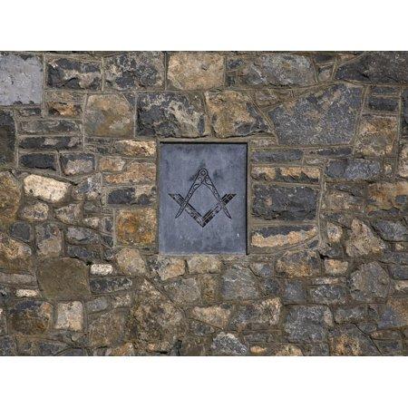 Masonic Coat of Arms, Masonic Hall Exterior, Limerick City, Ireland Print Wall Art
