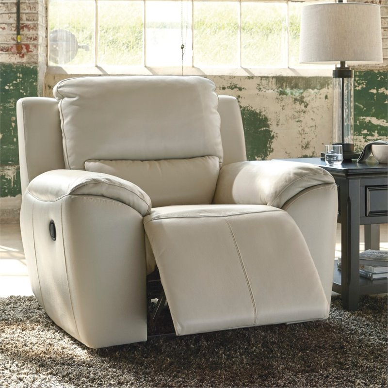 Ashley Valeton Zero Wall Power Recliner in Cream by Ashley Furniture