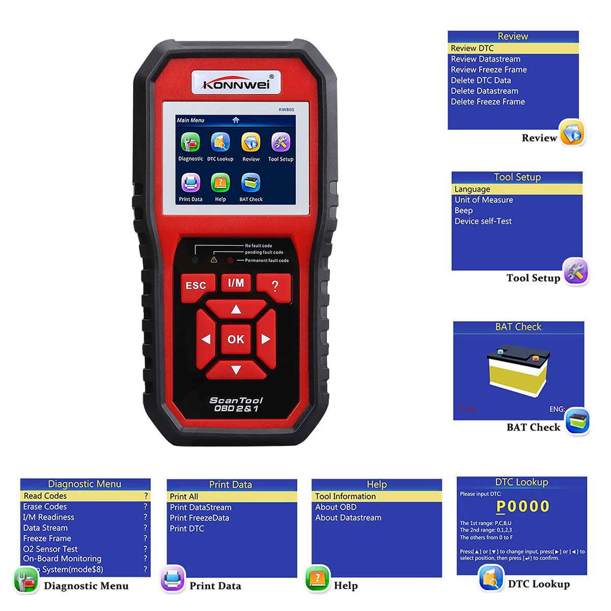 KONNWEI OBD2 Scanner Code Reader OBD II Auto Diagnostic Code Scanner OBD  EOBD Car Engine Fault CAN Diagnostic Scan Tool with I/M Readiness(Enhanced