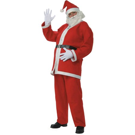 Adult's Mens Promotional Flannel Santa Claus Christmas Costume Suit - Christmas Costumes Men