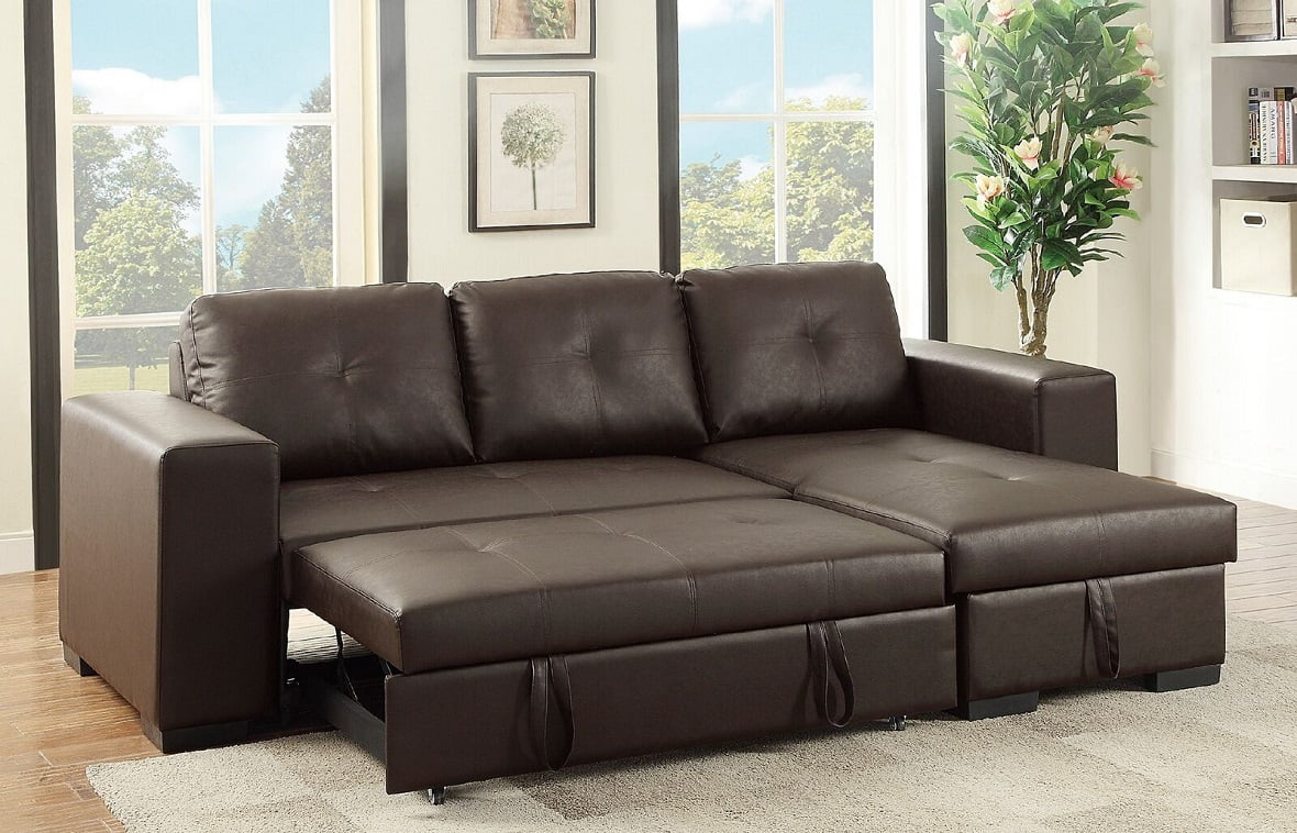 Buchannan Faux Leather Sectional Sofa With Reversible Chaise Black