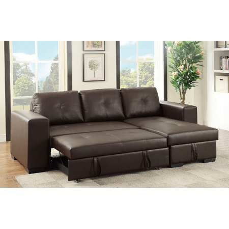 Espresso Faux Leather Sectional Set Pull Out Bed Sofa Chaise Family Couch Home Modular Sectionals