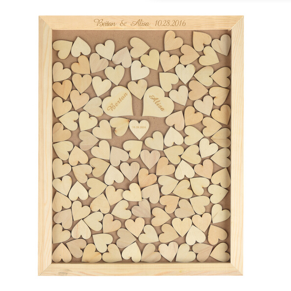 Wendana Wedding Guest Book Drop Box With 150 Hearts Rusti...