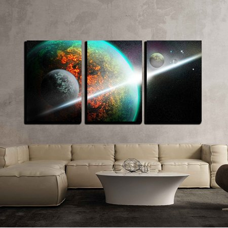 wall26 - 3 Piece Canvas Wall Art - Space - Modern Home Decor ...