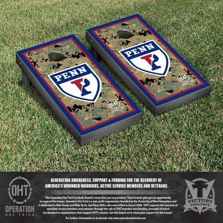 Operation Hat Trick University of Pennsylvania Penn Quakers Cornhole Game Set Border Version