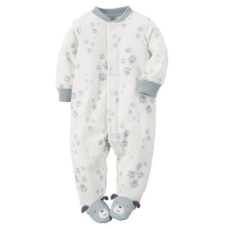 e95289051 Carter s - Carters Infant Boys Dog Paw Micro Fleece Footed Sleeper ...