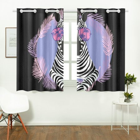 Yusdecor Cool Zebra In Sun Glasses Window Curtains Kitchen Curtain Room Bedroom Drapes Curtains 26x39 Inch 2 Piece Walmart Canada