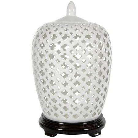 Oriental Home Handmade Dolomite 12 Inch Carved Lattice Decorative Vase Jar China