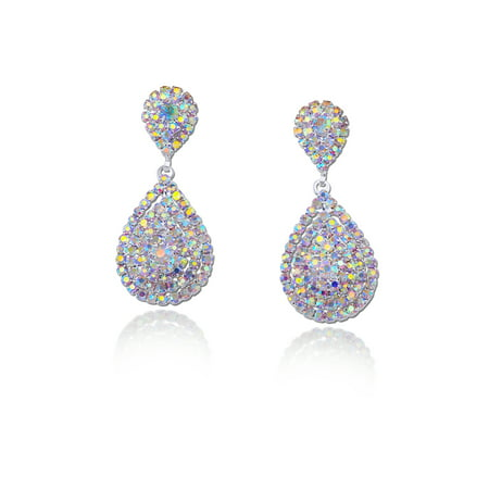 Wedding Earrings Silver Aurora Borealis Rhinestone Teardrop Formation Dangle Earrings (Wedding Earring)