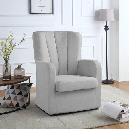 Modern Swivel Armchair, Rotating Accent Chair for Living Room with Pleated  Back (Light Grey)