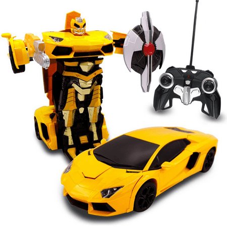 transformania toys kids bull rc toy car transforming robot remote control one button transformation realistic engine sounds 360 speed drifting weapon included toys for boys 1:14 scale (yellow) (Car Rc Drift 1 10)