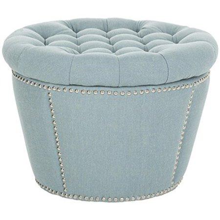 Astounding Safavieh Mercer Collection Emma Light Blue Tufted Round Storage Ottoman Ncnpc Chair Design For Home Ncnpcorg