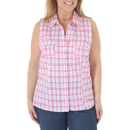 Riders by Lee Women's Plus-Size Flattering Sleeveless Woven Top with Slimming Princess Seams