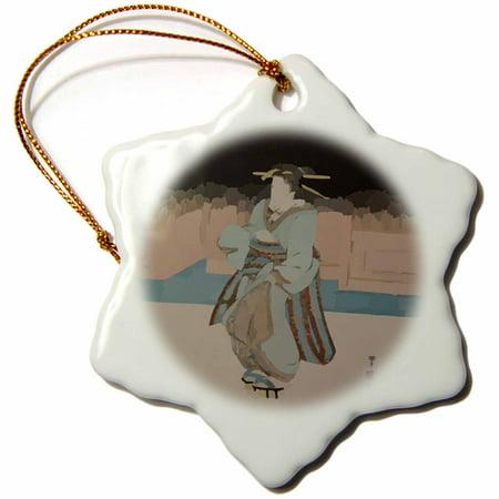 Wood Block Ornament (3dRose Image of Ancient Wood Block Geisha Painting - Snowflake Ornament,)