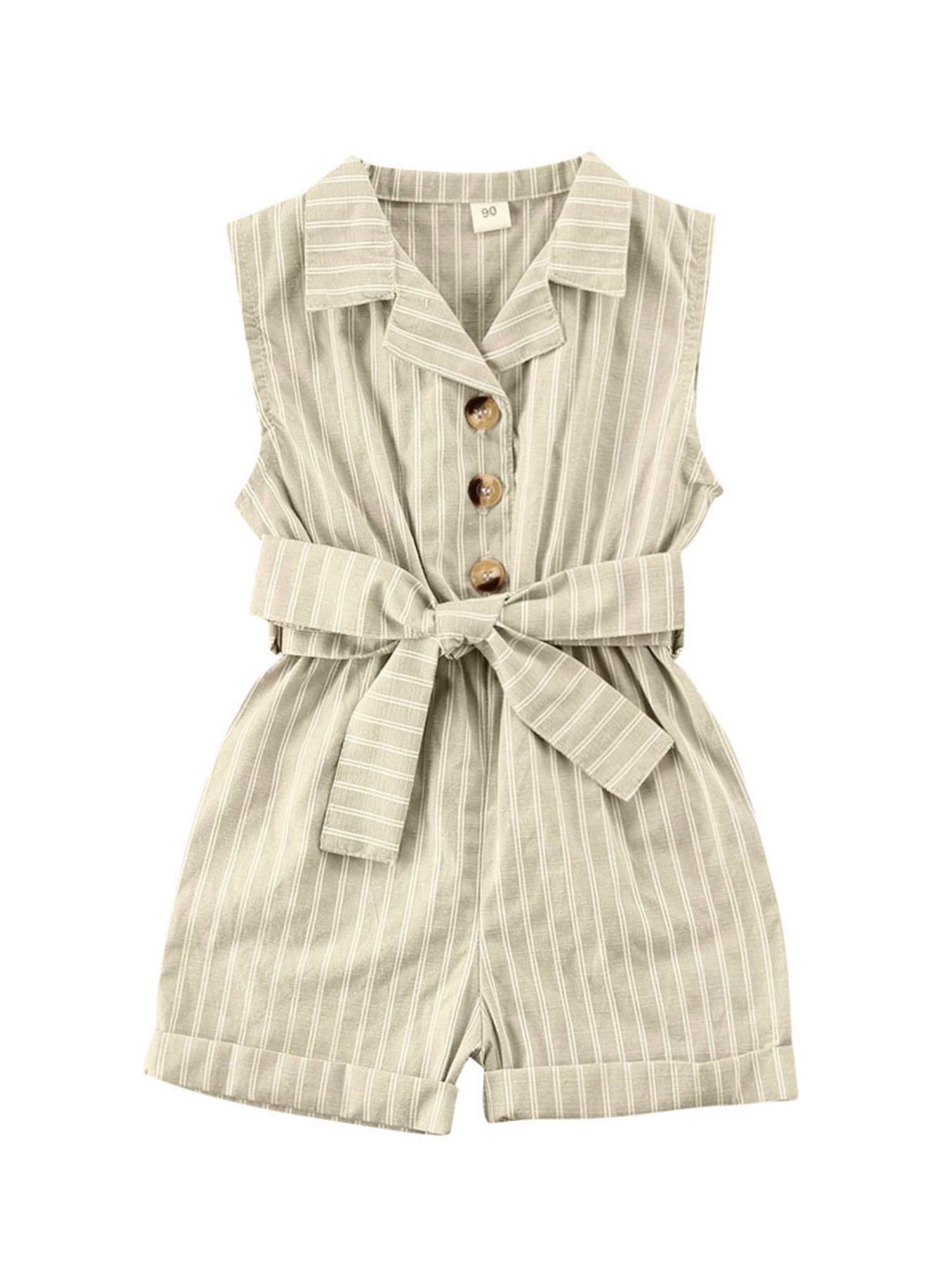 Girls Rompers Overalls Striped Playsuit Sleeveless Turn Down Button  Jumpsuits - Walmart.com - Walmart.com