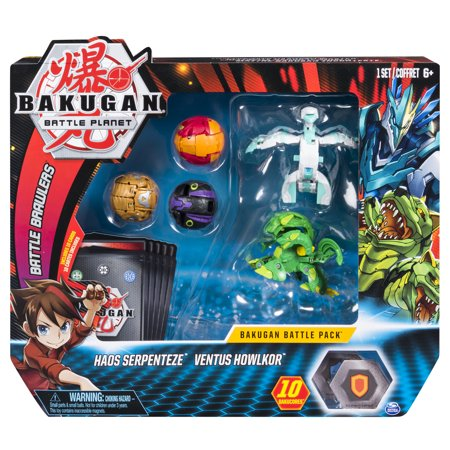 Bakugan, Battle Pack 5-Pack, Haos Serpenteze and Ventus Howlkor, Collectible Cards and Figures, for Ages 6 and Up