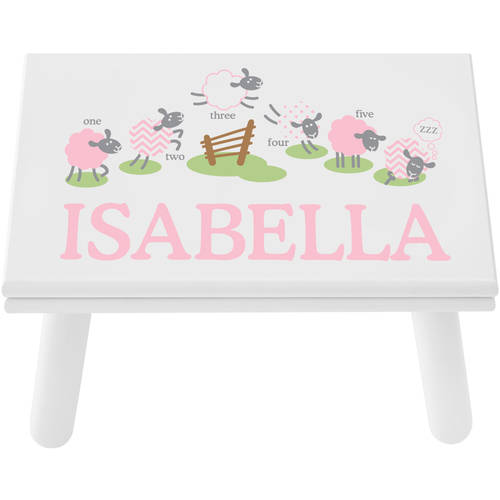 Personalized Pink Counting Sheep Step Stool, Available in 2 Finishes by Generic