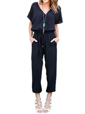Product Image DYMADE Women s V Neck Solid Loose Long Jumpsuits Romper  Playsuit With Adjustable Drawstrings c2c82d958