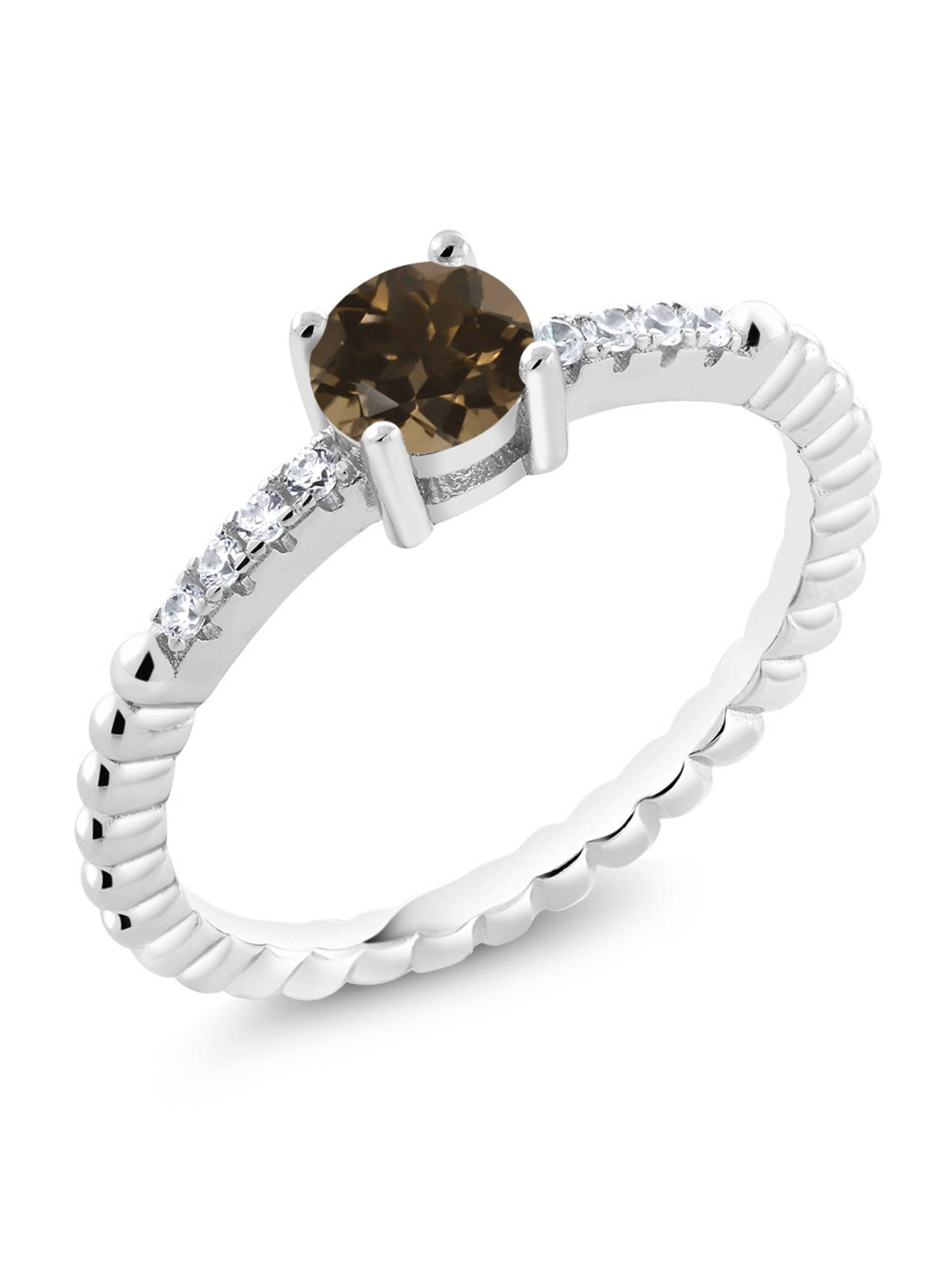 0.54 Ct Round Brown Smoky Quartz 925 Sterling Silver Engagement Ring