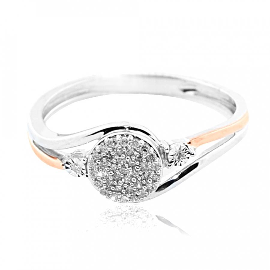 10K White and Rose Gold 0.15cttww Diamond Promise Engagement Ring Swirl