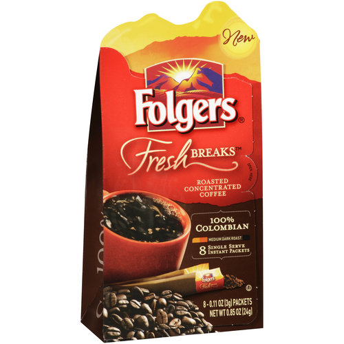 Folgers Fresh Breaks 100% Colombian Instant Coffee, 8 count, 0.85 oz